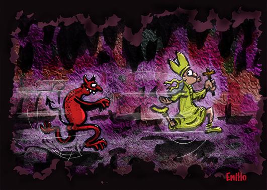 Teufel jagt Bischof